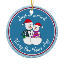 35th Anniversary Gift Fun Snow Couple Christsmas Ceramic Ornament