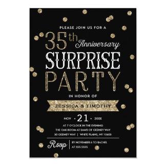 35th Anniversary Glitter Confetti Surprise Party Card