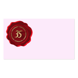 35th anniversary red wax seal business card
