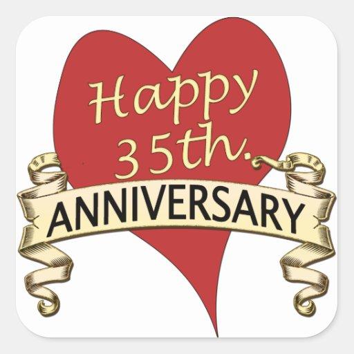 35th. Anniversary Square Sticker