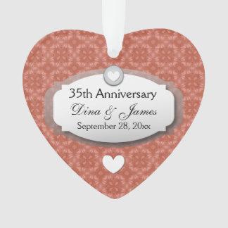 35th Anniversary Wedding Anniversary Coral Z22 Ornament
