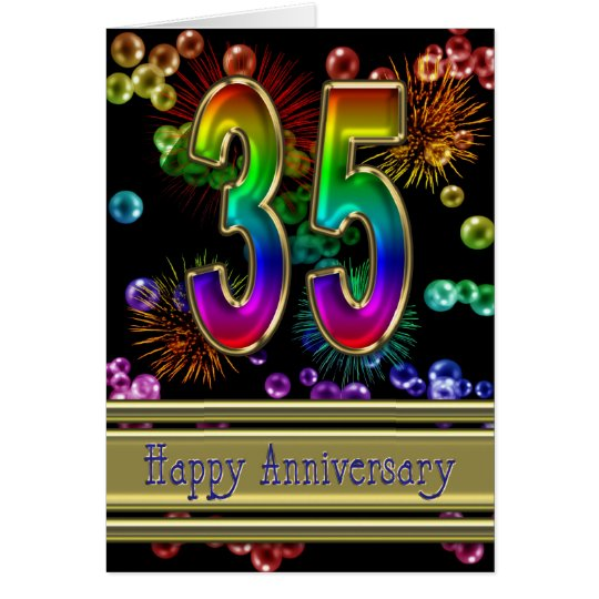 35th anniversary with fireworks and bubbles card