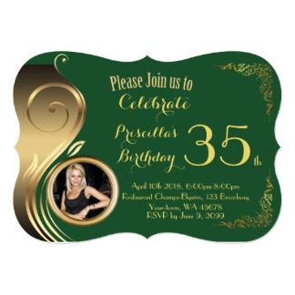 35th,any age Birthday Invitation PHOTO,Gatsby styl
