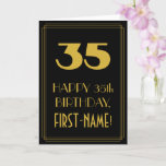 "[ Thumbnail: 35th Birthday – Art Deco Inspired Look ""35"" & Name Card ]"