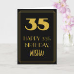 "[ Thumbnail: 35th Birthday ~ Art Deco Inspired Look ""35"" & Name Card ]"