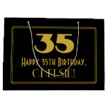 "[ Thumbnail: 35th Birthday — Art Deco Inspired Look ""35"" & Name Gift Bag ]"