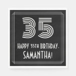 "[ Thumbnail: 35th Birthday: Art Deco Inspired Look ""35"" + Name Napkins ]"