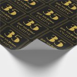 "[ Thumbnail: 35th Birthday ~ Art Deco Inspired Look ""35"", Name Wrapping Paper ]"
