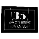 "[ Thumbnail: 35th Birthday: Art Deco Inspired Style ""35"", Name Gift Bag ]"