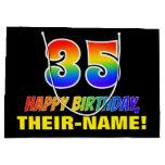 [ Thumbnail: 35th Birthday: Bold, Fun, Simple, Rainbow 35 Gift Bag ]