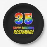 [ Thumbnail: 35th Birthday: Bold, Fun, Simple, Rainbow 35 Paper Plate ]