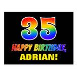 [ Thumbnail: 35th Birthday: Bold, Fun, Simple, Rainbow 35 Postcard ]