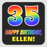 [ Thumbnail: 35th Birthday: Bold, Fun, Simple, Rainbow 35 Sticker ]