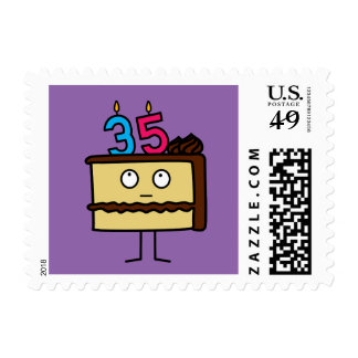 35th Birthday Cake with Candles Postage
