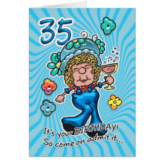 35th Birthday Card - Fun Lady With Glass Of Wine