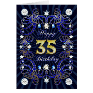 35th birthday card with masses of jewels