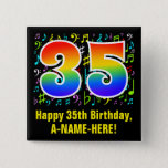 [ Thumbnail: 35th Birthday: Colorful Music Symbols, Rainbow 35 Button ]