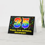 [ Thumbnail: 35th Birthday: Colorful Music Symbols & Rainbow 35 Card ]