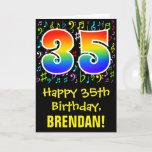 [ Thumbnail: 35th Birthday: Colorful Music Symbols + Rainbow 35 Card ]