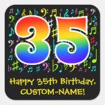 [ Thumbnail: 35th Birthday: Colorful Music Symbols, Rainbow 35 Sticker ]