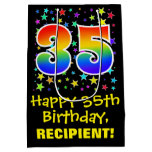 [ Thumbnail: 35th Birthday: Colorful Stars Pattern & Rainbow 35 Gift Bag ]