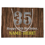 [ Thumbnail: 35th Birthday: Country Western Inspired Look, Name Gift Bag ]