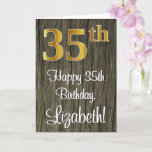 [ Thumbnail: 35th Birthday: Elegant Faux Gold Look #, Faux Wood Card ]