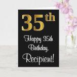 [ Thumbnail: 35th Birthday ~ Elegant Luxurious Faux Gold Look # Card ]