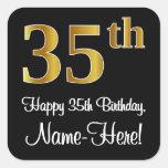 [ Thumbnail: 35th Birthday – Elegant Luxurious Faux Gold Look # Sticker ]
