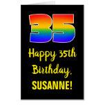 [ Thumbnail: 35th Birthday: Fun, Colorful, Happy, Rainbow # 35 Card ]