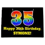 [ Thumbnail: 35th Birthday ~ Fun, Colorful, Vibrant, Rainbow 35 Gift Bag ]