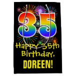 [ Thumbnail: 35th Birthday: Fun Fireworks Pattern + Rainbow 35 Gift Bag ]