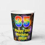 [ Thumbnail: 35th Birthday: Fun Fireworks Pattern + Rainbow 35 ]