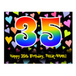 [ Thumbnail: 35th Birthday: Fun Hearts Pattern, Rainbow 35 Postcard ]