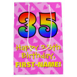 [ Thumbnail: 35th Birthday: Fun Pink Hearts Stripes; Rainbow 35 Gift Bag ]
