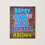 [ Thumbnail: 35th Birthday ~ Fun, Urban Graffiti Inspired Look Jigsaw Puzzle ]