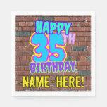 [ Thumbnail: 35th Birthday ~ Fun, Urban Graffiti Inspired Look Napkins ]