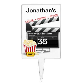 35th Birthday Hollywood Movie Party Cake Topper