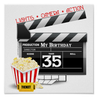 35th Birthday Hollywood Movie Party Poster