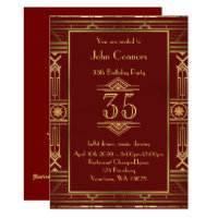 35th,Birthday invitation Man, Gatsby style,any age