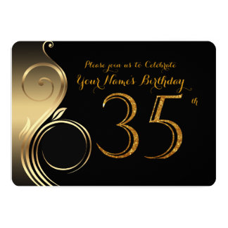 35th,Birthday Invitation,Number Glitter Gold,Photo Card