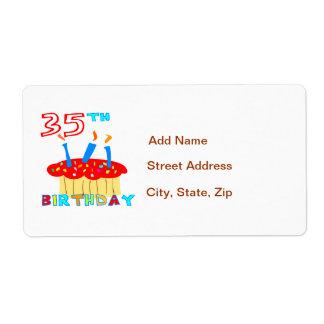 35th Birthday Label