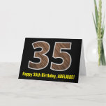 "[ Thumbnail: 35th Birthday: Name + Faux Wood Grain Pattern ""35"" Card ]"