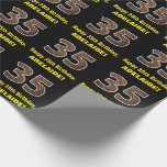 """[ Thumbnail: 35th Birthday: Name & Faux Wood Grain Pattern """"35"""" Wrapping Paper ]"""