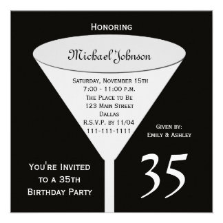 35th Birthday Party Invitation -- A Toast for 35