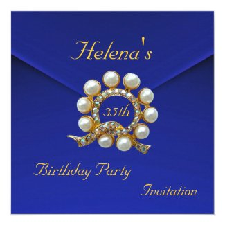 35th Birthday Party Rich Blue Faux Velvet Card
