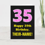 "[ Thumbnail: 35th Birthday: Pink Stripes and Hearts ""35"" + Name Card ]"