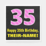 "[ Thumbnail: 35th Birthday: Pink Stripes and Hearts ""35"" + Name Napkins ]"