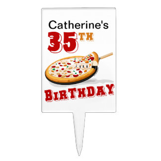 35th Birthday Pizza Party Cake Toppers