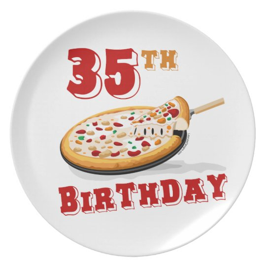 35th Birthday Pizza Party Dinner Plate